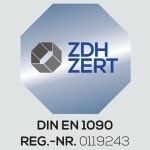 DIN-EN-1090 Zertifizierungsemblem mit Registrierungsnummer